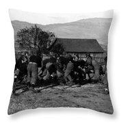 High School Football Game 1912 Black White 1910s Throw Pillow