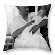 Holding Baby 1927 Black White 1920s Archive Boy Throw Pillow