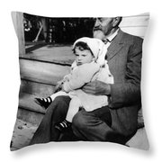 Holding Toddler 1912 Black White 1910s Archive Throw Pillow