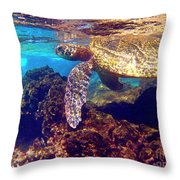 Honu On The Reef Throw Pillow