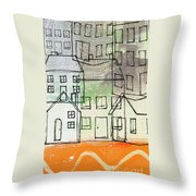 Houses By The River Throw Pillow by Linda Woods