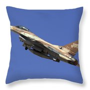 Iaf F-16a Fighter Jet On Blue Sky Throw Pillow