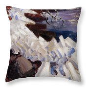 Ice Breaking On The Shores Of Kalela Throw Pillow