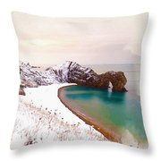Illustration Of  The Durdle Door In Snow Throw Pillow