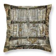 In The News Vintage Hay Barn Door Throw Pillow