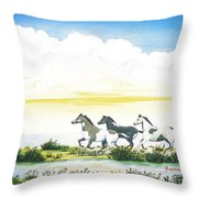 Indian Ponies Throw Pillow