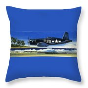 Into The Blue American War Planes Throw Pillow