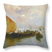Italian Sailing Boats On The Lagoon Throw Pillow
