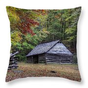 Jim Bales Place Barn Along Roaring Fork Motor Trail Throw Pillow