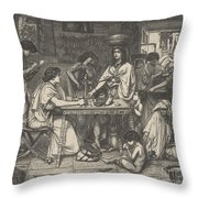 Joseph Distributes Corn Throw Pillow