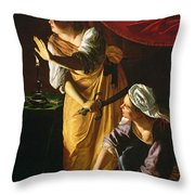 Judith And Maidservant With The Head Of Holofernes Throw Pillow