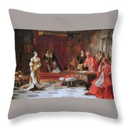 Katherine Of Aragon Denounced Before King Henry  Throw Pillow