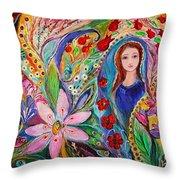 Leah And Flower Of Mandragora Throw Pillow