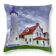 Lighthouse At Point Iroquois Throw Pillow