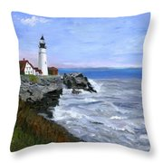 Lighthouse South Portland Me  Throw Pillow