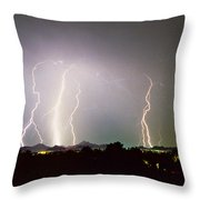 Lightning Thunderstorm View From Oaxaca Restaurant   Throw Pillow