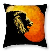 Lion Illustration Print Silhouette Print Night Predator Throw Pillow