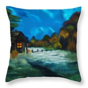 Little Pig's Barn In The Moonlight Dreamy Mirage Throw Pillow