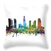 Los Angeles Cityscape 01 Throw Pillow