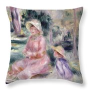 Madame Renoir And Her Son Pierre Throw Pillow by Pierre Auguste Renoir