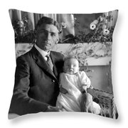 Man Male Holding Baby 1910s Black White Archive Throw Pillow