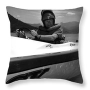 Man Male In Racing Boat June 12 1963 Black White Throw Pillow