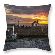 Maryport Harbour At Sunset Throw Pillow