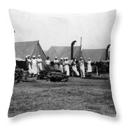 Military Cooks Next Stoves Tents Wood Circa 1910 Throw Pillow