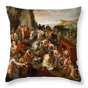 Moses Striking Water From The Rock Throw Pillow