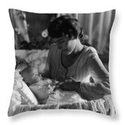 Mother Baby 1910s Black White Archive Bassinet Throw Pillow