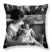 Mother Holding Baby 1910s Black White Archive Throw Pillow
