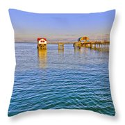Mumbles Pier And Lifeboat Station Throw Pillow