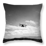 Navy Biplane Coming In For Landing 19411945 Throw Pillow