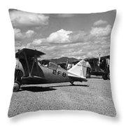 Navy Biplanes 19411945 Black White 1940s Airport Throw Pillow