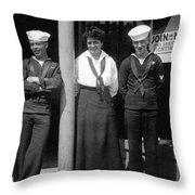 Navy Recruiting Personnel 19171918 Black White Throw Pillow