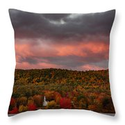 New England Fall Foliage Over The Small White Church Throw Pillow
