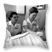 Nurse In Training Bathing Dummy Patient Circa Throw Pillow