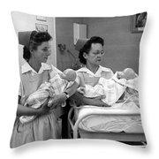 Nurses Training Dummy Babies Circa 1960 Black Throw Pillow