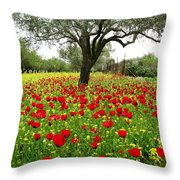 Olive Amongst Poppies Throw Pillow