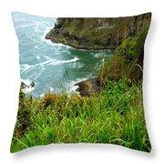 Oregon's Seaside Cliffs In Springtime Throw Pillow