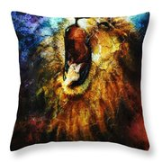Painting Of A Mighty Roaring Lion Emerging From An Abstract Desert Pattern Pc Collage Throw Pillow