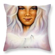 Painting Of A Young Girls Angelic Face With Radiant White Hair And A Shining Dove Throw Pillow