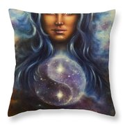 Painting On Canvas Of A Space Woman Goddess Lada As A Mighty Loving Guardian With Symbol  Jin Jang Throw Pillow