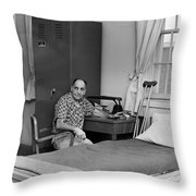 Patient Sitting Desk In Hospital Room Circa 1960 Throw Pillow