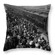People Greeting Troop Train 19171918 Black White Throw Pillow