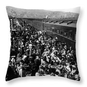 People Greeting Troop Train 1918 Black White Throw Pillow