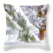 Pine Branch Tree Under Snow Throw Pillow