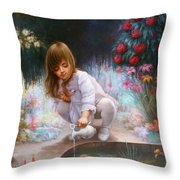 Pond And Girl Throw Pillow