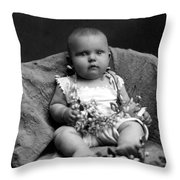 Portrait Headshot Baby Fruited Branch 1910s Throw Pillow