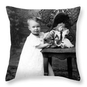 Portrait Headshot Girl Doll December 1903 Black Throw Pillow